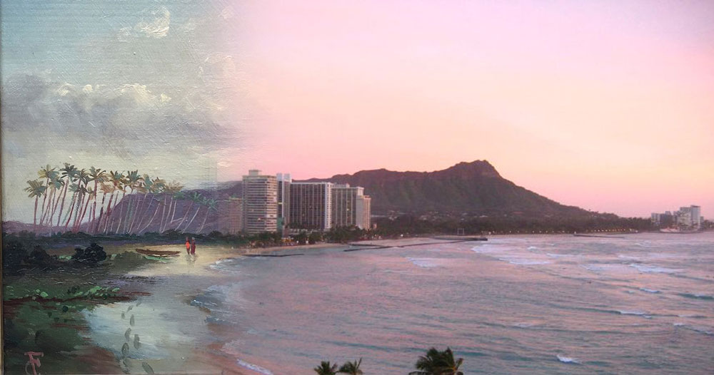 On the left, rural 1800s Waikiki as depicted in the painting Diamond Head, Waikiki Beach, and Helumoa by Charles Furneaux is juxtaposed with a modern photo courtesy of Christopher Chappelear, Composite image courtesy of Wendy Roberts