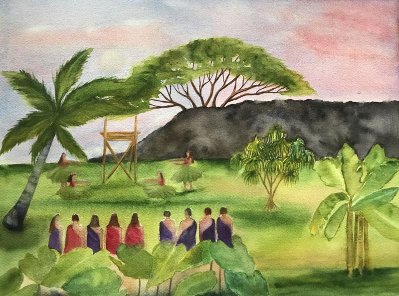 Ulupō Heiau Watercolor  12x16