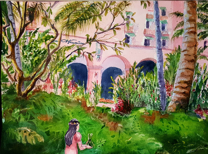 The Pink Palace Watercolor 11x14