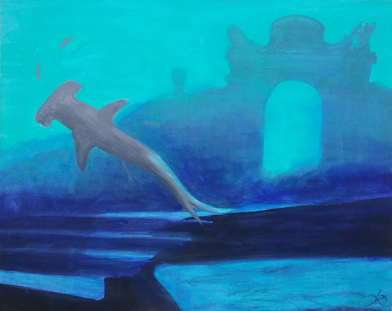 """Natatorium"" acrylic on canvas, 30x24"""